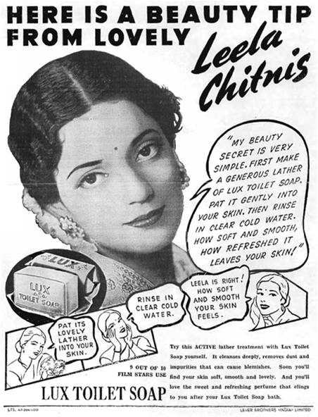 Another Lux Advertisement with an celebrity of those times endorsing it.